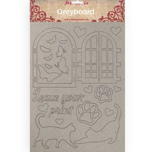 Hoja A4 de chipboard Stampería Orchids and Cats Leave