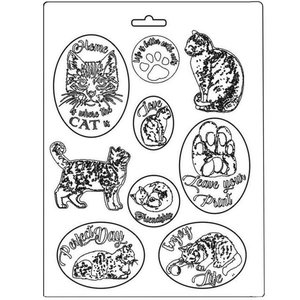 Molde flexible A4 Stampería Orchids and Cats