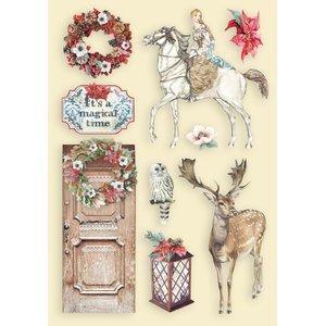 Maderitas coloreadas Stampería Winter Tales Horse and Deer