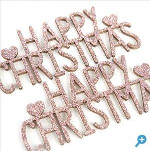 Maderitas con glitter Happy Christmas Dovecraft Winter Sparkle